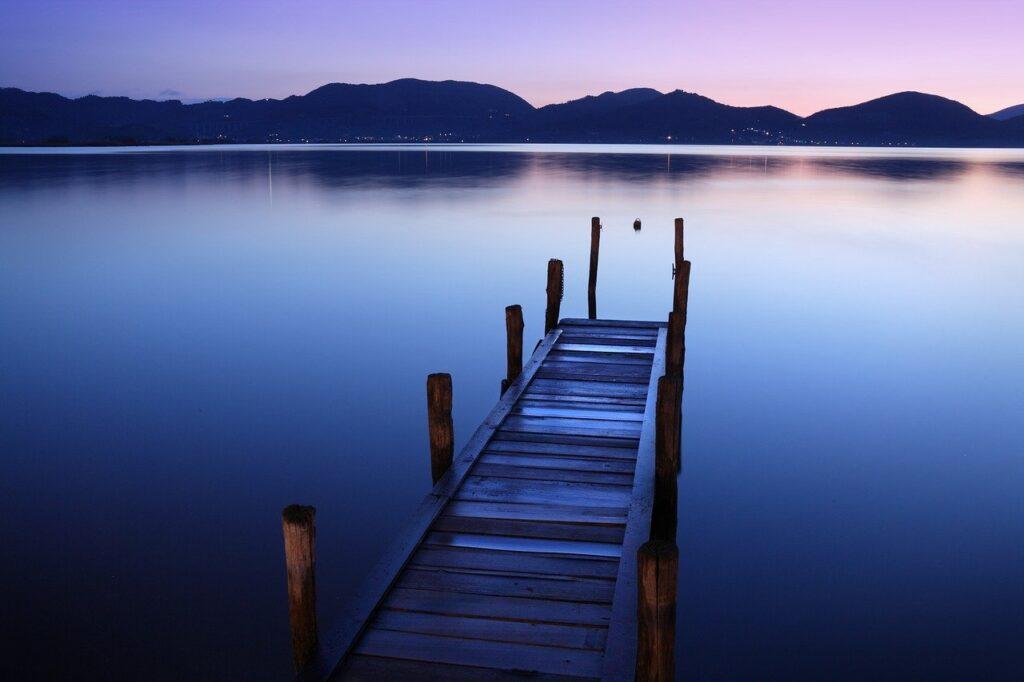 lake, jetty, sunset